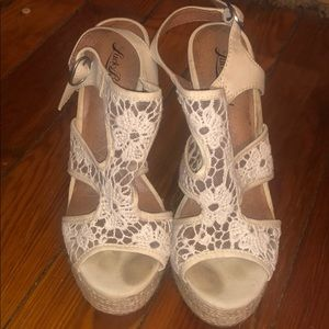 Cream lace wedges